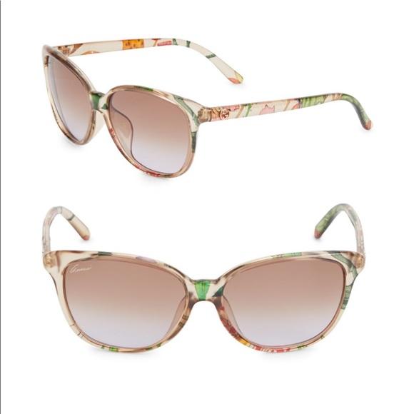 4fb94f62358 Gucci Floral Print Cat Eye Sunglasses NWT